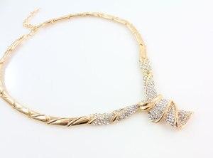 Image 3 - Groothandel Mode Goud Kleur Rhinestone Bruiloft Sieraden Sets Ketting Armband Ring Oorbellen Voor Vrouwen Bridal