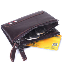 Genuine Cowhide Leather Men Wallet Short Coin Purse Double Zipper Small Vintage Wallet Brand High Quality
