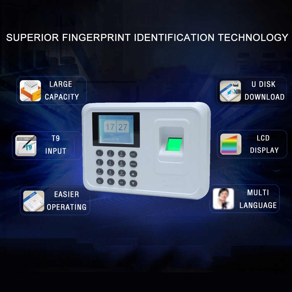Intelligent Biometric Fingerprint Password Attendance Machine Employee  Checking-in Recorder 2 4 inch TFT LCD Screen DC 5V Time