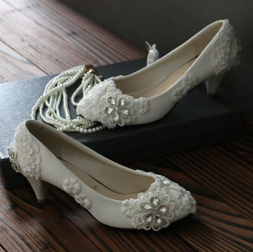100% real photos handmade rhinestones lace wedding pumps shoes for woman TG182 white ivory bridal party dress pumps on sales