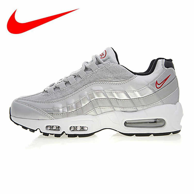 61ff679a52 Original NIKE AIR MAX 95 ESSENTIAL Men's Running Shoes, Silver, Breathable,  Non-