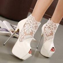 Thin heels sandalen weiblichen ultra high heels 16 cm spitze sexy ausschnitt t weiß damenschuhe 2015
