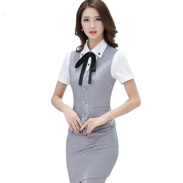 Nova moda das mulheres do desgaste do trabalho roupas saia colete ternos uniformes escritório feminino plus size colete com saia define cinza preto