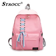 Fashion Backpack School For Girl Bow Ribbons Chains Student Large Capacity Harajuku Canvas Female Casual Travel Bagpack