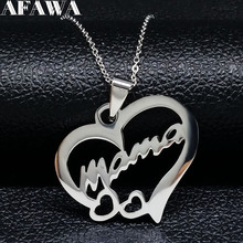 2020 Fashion Mama Heart Love Stainless Steel Necklaces for Women Silver Color Statement Necklace Jewelry bisuteria mujer N18110