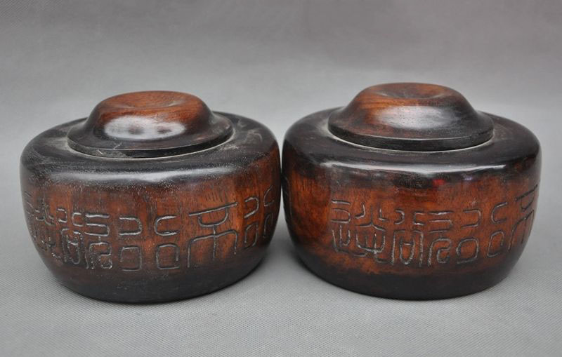 Свадебные украшения, редкие, старый Китай, Huanghuali, дерево, ручная работа, игра в шахматы, Go Weiqi Box Jar Pair