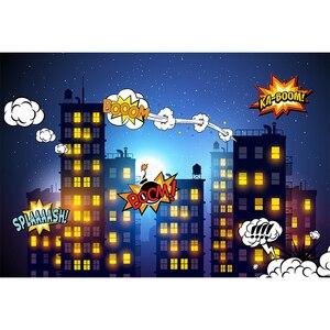 Image 2 - Mehofoto Super héros photographie fond fête danniversaire toile de fond bâtiments et accessoires de nuit pour séance Photo