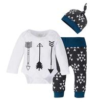 3pcs/set Newborn Clothing Sets 2017 New Autumn Baby Long Sleeve Arrow Print Bodysuit+Long Pants+Hat Toddlers Leisure Outfits Set