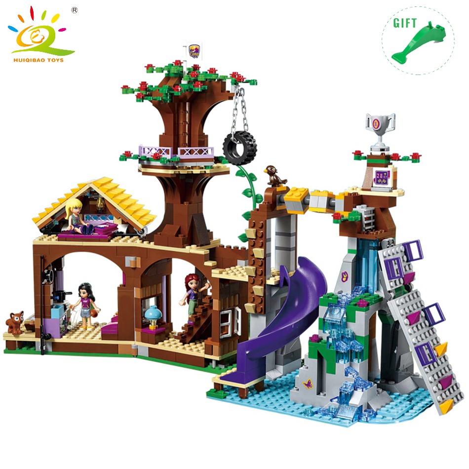 HUIQIBAO TOYS Friends Adventure Camp Tree House Building Blocks Compatible Legoed Friends City Toys For Children Girls Gifts [hot] 875pcs legoings adventure camp tree house model building blocks gifts toy compatible legoingly friends toys for children