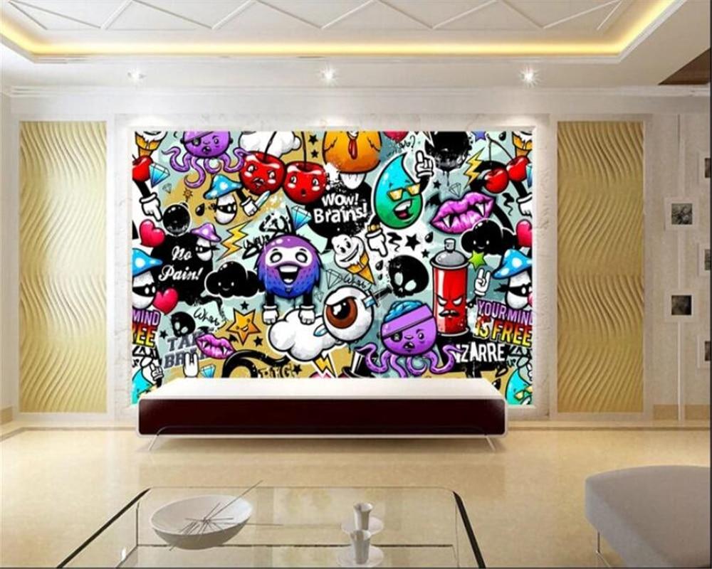 Beibehang Papier Peint Mural 3d Wallpaper 3d In The Wall Beautifully Doodle Colorful Kids Room Wallpaper Background Wall3d Mural Wallpapers Aliexpress Wallpaper 3d dinding rumah