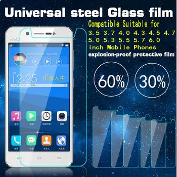 New Universal Tempered Glass Screen Protector Film for 4.0 4.3 4.7 5.0 5.3 5.7 6.0 inch mobile phone Premium Real 9H 2.5D 0.26mm