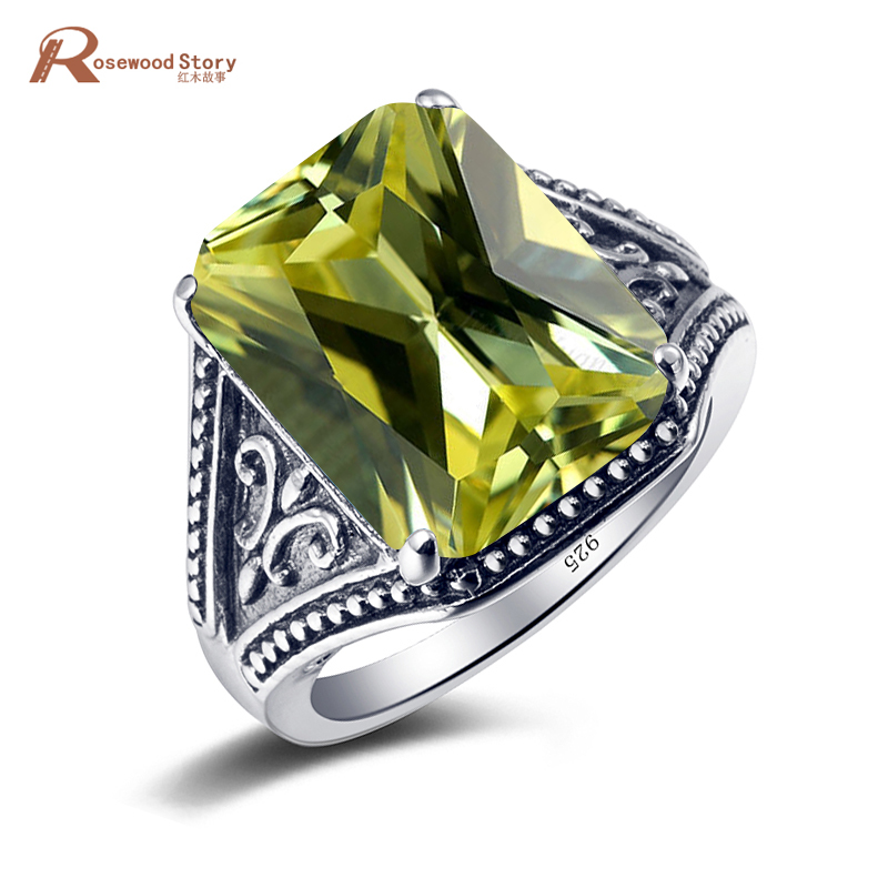 Top quality Fantastic Bohemian Ring Vintage Style Olivine Peridot Stone Cocktail Women Rings 925 Sterling Silver Party JewelryTop quality Fantastic Bohemian Ring Vintage Style Olivine Peridot Stone Cocktail Women Rings 925 Sterling Silver Party Jewelry
