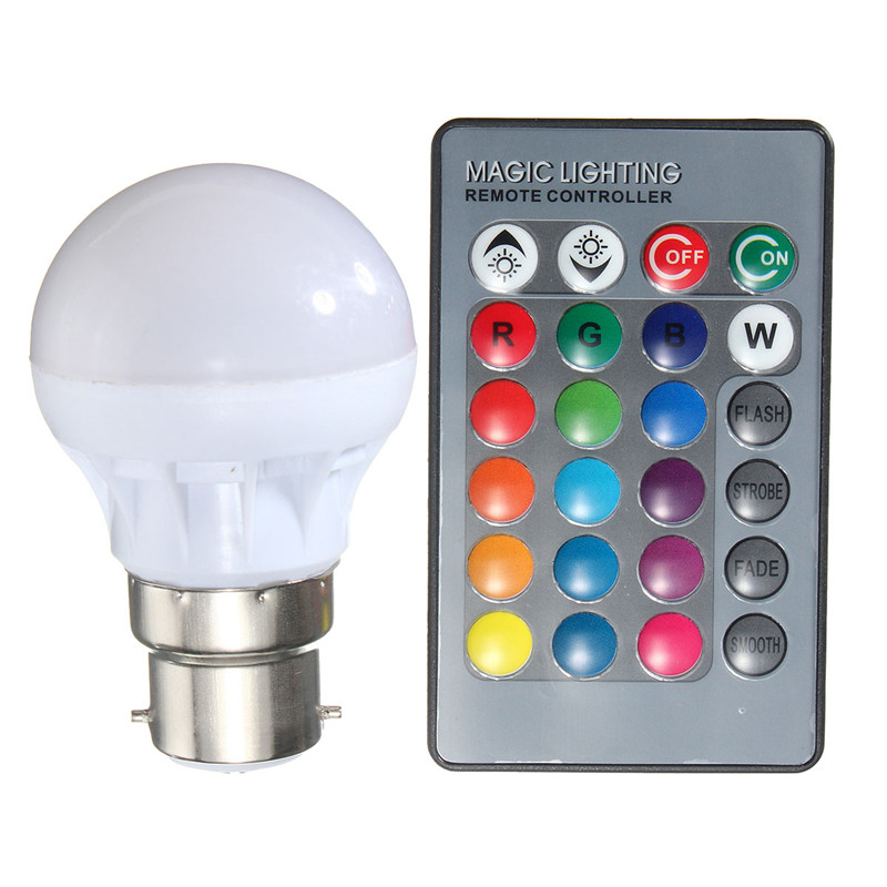 RGB LED Light Bulb E27 B22 3W 16 Colors Changing Magic Lamp Spotlight Bulb IR Remote Control Holiday Lighting Decor New 85-265V led rgb globe bulb e27 e14 3w ac 85 265v 16 colors changing magic light 24key ir remote control home night lighting led bulb