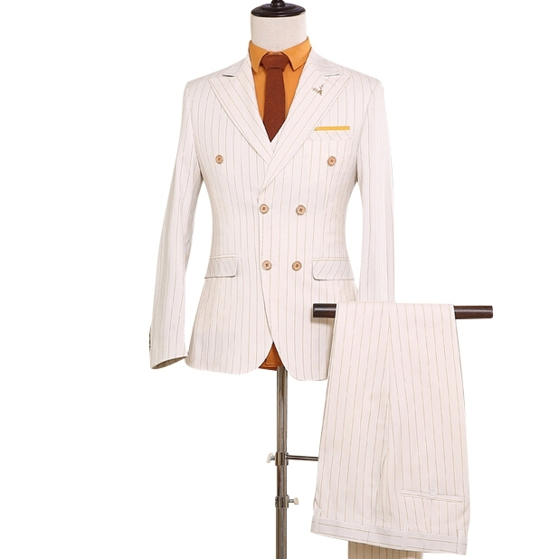 (Coat+Pants+Vest) Double Breast Mens Cream Suit Wedding Grooms Suit NA13 Stripe Mens Blazer Party White Jacket Groom Wedding Set