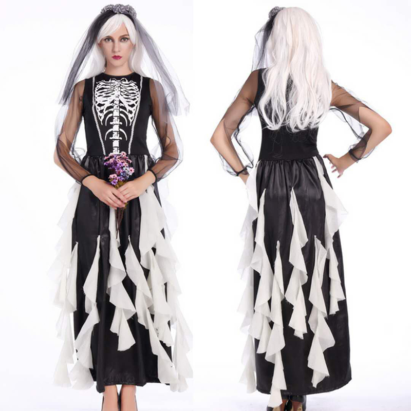 <font><b>2018</b></font> new high-quality stage party costume <font><b>Halloween</b></font> anime vampire cosplay black <font><b>sexy</b></font> long dress demons costume cosplay zombie ga image