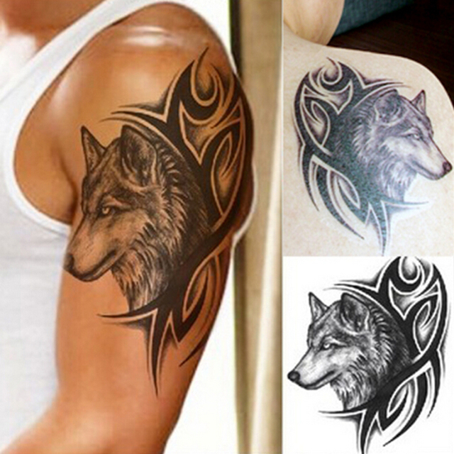 Cool Men Body Arm Leg Art Sticker Wolf Head Waterproof Temporary Tattoo Removable