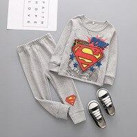 秋の子供漫画の服セット用男の子女の子スーパーマンスパイダーマン柄ロングスリーブtシャツ+パンツ子供綿の服