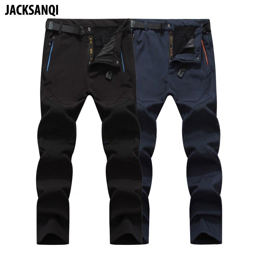 JACKSANQI Мужские штаны Зимние флисовые штаны для спорта на открытом воздухе водонепроницаемые лыжные треккинговые походные мужские брюки RB031|Походные штаны|   | АлиЭкспресс