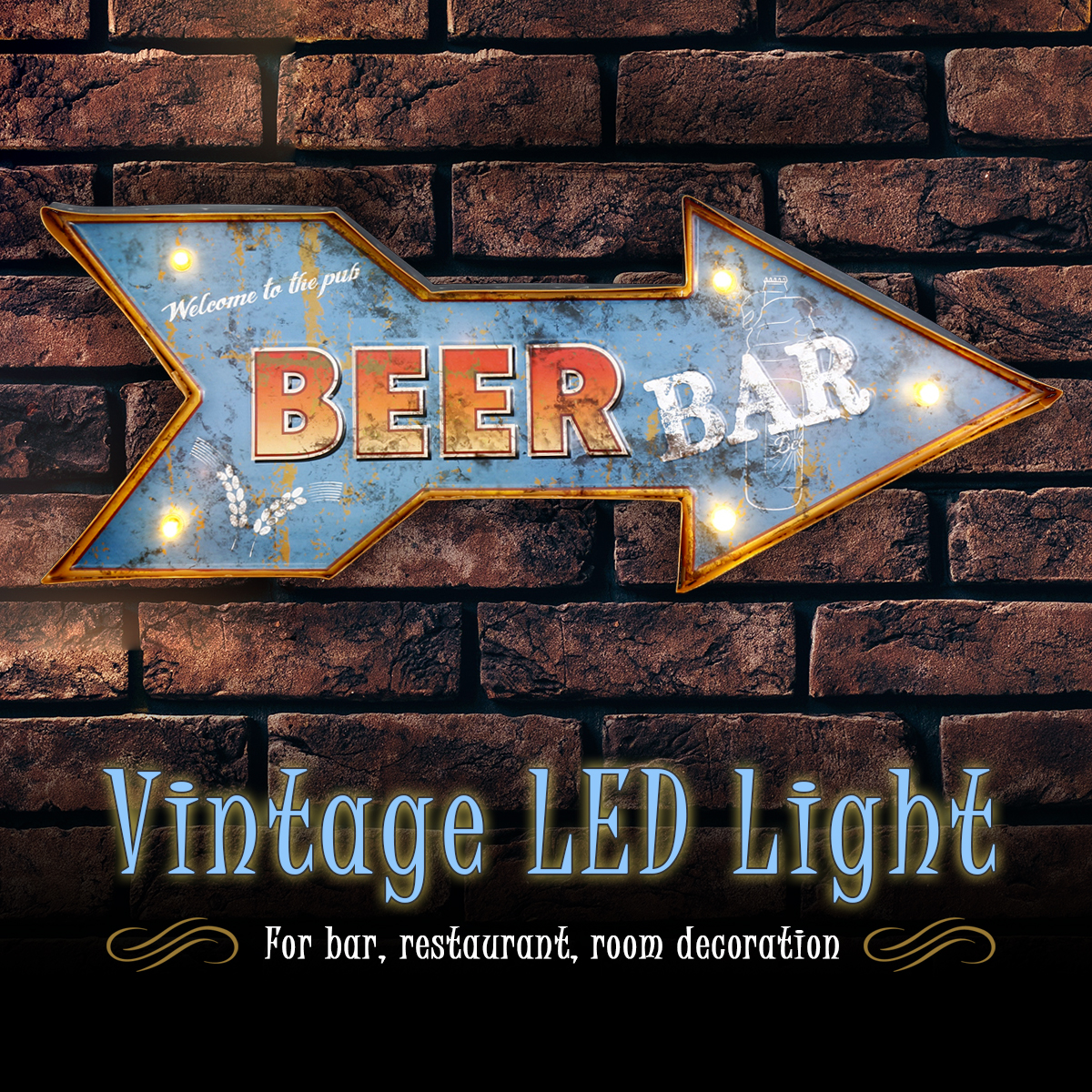 LED Mental Light Vintage Arrow Beer Sign Bar Game Room Wall Hangings Decorations Home Decor серьги эстет серьги