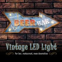 LED Mental Light Vintage Arrow Beer Sign Bar Game Room Wall Hangings Decorations Home Decor