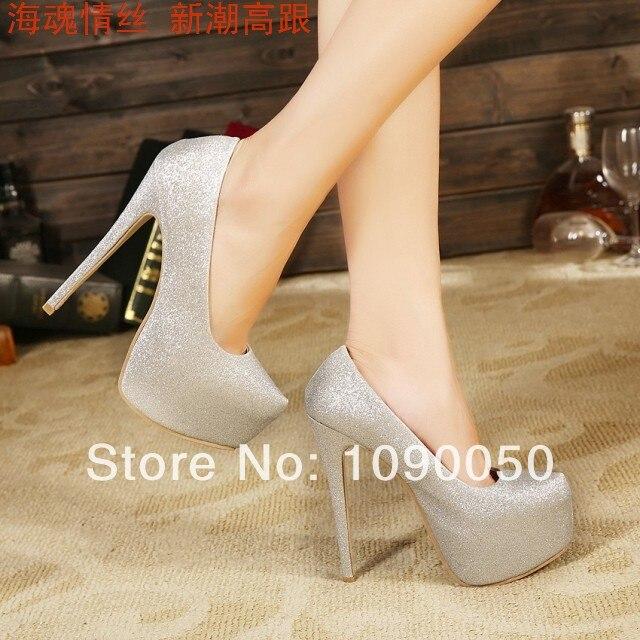 ФОТО Hot-selling OL platform thin heels high-heeled shoes wedding shoes sexy pumps 15cm platform Gold Sliver shoes plus size 35-43 44