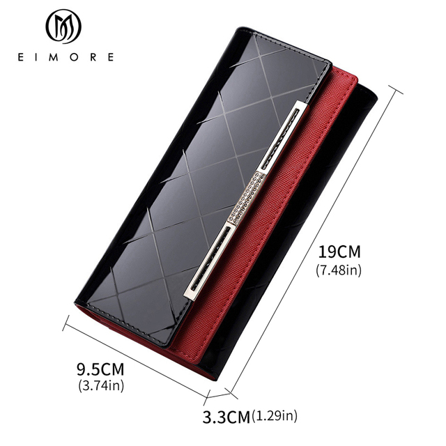 EIMORE Patent Leather Women Wallet Female Long Clutch Lady Walet Portomonee Rfid Luxury Brand Money Bag For Girls Coin Purse