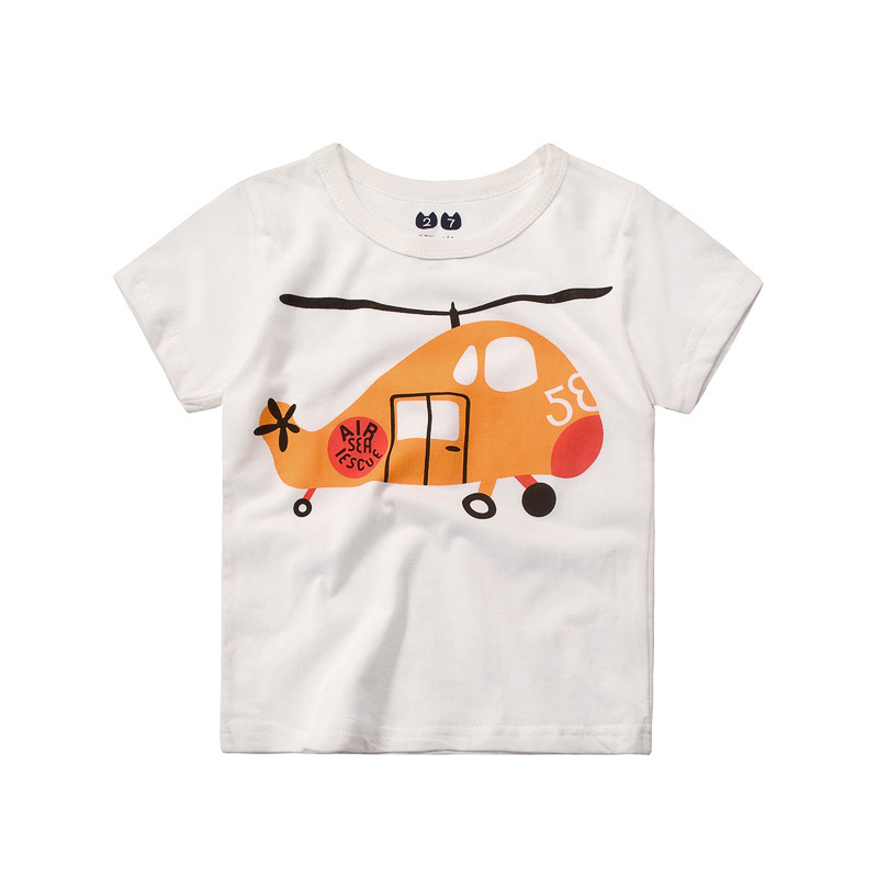 100% Cotton Tshirt For Kids Boys Girls Short Sleeved T-shirt Cartoon Cars Print Tees 2 4 6 8 10 Child Summer Clothes 4 Styles