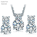 Crystal From Swarovski jewelry Set Gold Plated Bridal Wedding Jewelry Sets of  Drop Tears jewellery Sets For Women