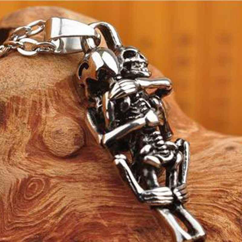2019 nowy 1 pc Hot mężczyźni nieskończoność srebrny czarny czaszka ze stali nierdzewnej wisiorek naszyjnik łańcuch biżuterii najlepszy przyjaciel prezenty