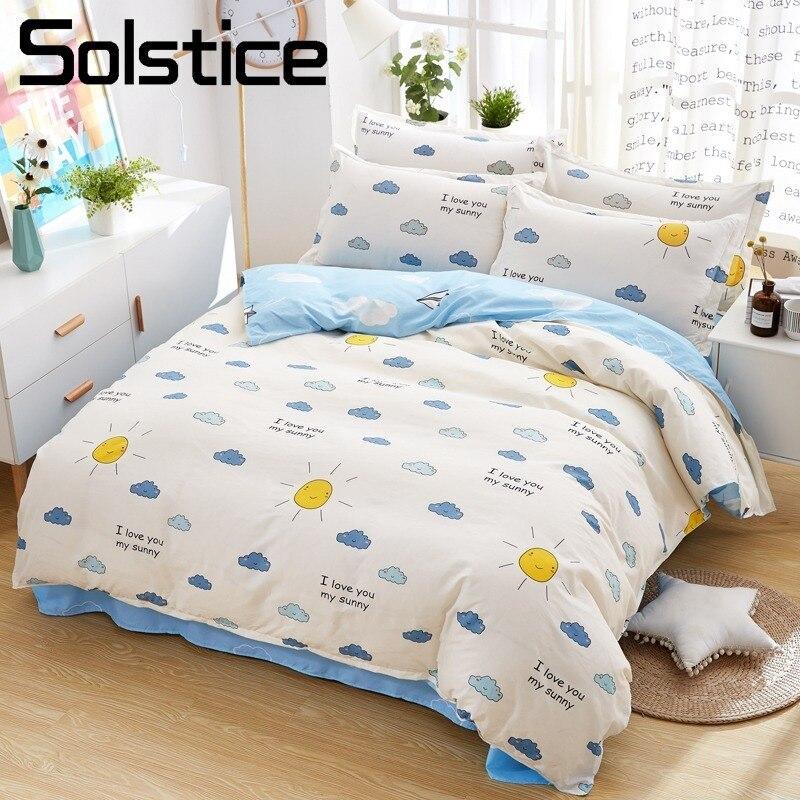 Solstice Home Textile King Queen Full Bedding Suit Sun White Blue Kid Child Boy Girl Linens Bed Sheet Pillowcase Duvet Cover Set