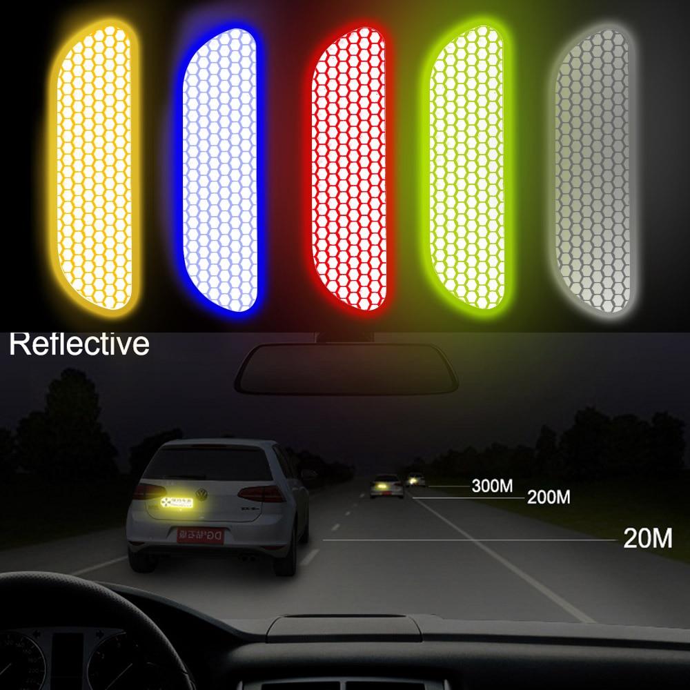 LEEPEE coche puerta rueda ceja pegatina marca de seguridad tiras reflectantes cinta de advertencia coche reflectante pegatinas 4 unids/set