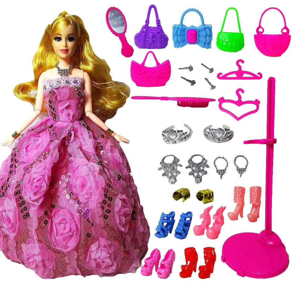 New Fashion Doll Partai Wedding Dress Barbie Dolls Gaya Baru Moveable - Boneka dan aksesoris - Foto 1