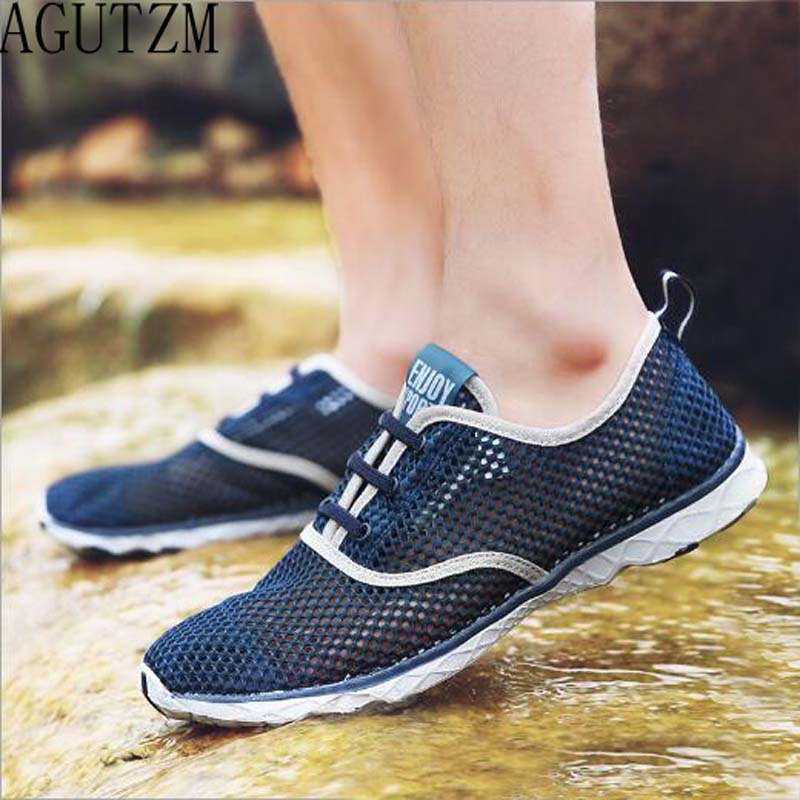 Summer Breathable Men Casual Shoes Lightweight Cushion Walking Shoes Men Outdoor Water Shoes Big size 46 zapatillas mujer Q15