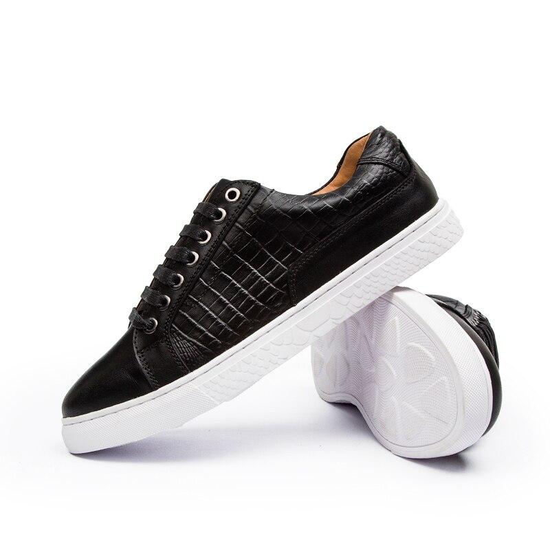 ФОТО 2016 New Autumnmen white shoes Crocodile COLOR Casual Flats Heels Round Toe Black Shoes Fashion Men Shoes Winter Warm Leather