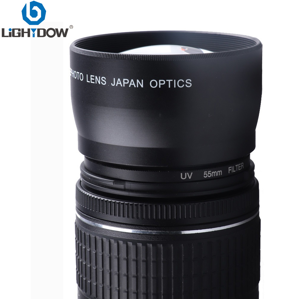 Lightdow 55mm 2.0x Affiliated Telephoto <font><b>lens</b></font> for <font><b>Sony</b></font> Alpha A77 A280 A290 A380 A390 A580 A590 A200 <font><b>A230</b></font> 18-55mm Camera <font><b>Lens</b></font> image