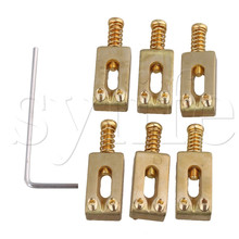 6pcs Gold Color  Brass Compensated Saddles for Electric Guitar Bridge 6pcs gold color brass compensated saddles for electric guitar bridge
