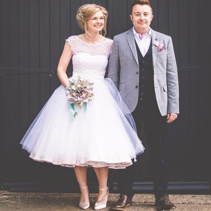 Robe de Mariee Tea Length Short Polka Dot  Wedding Dress Plus Size Vestido de Novia Corto Beach Wedding Dress
