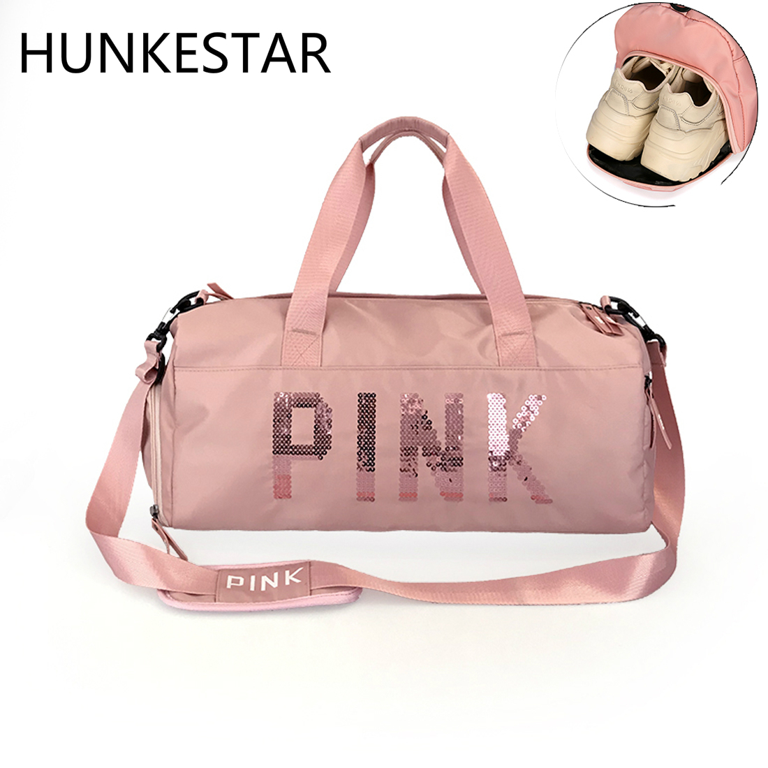 db430653b2 2018 Cheap Sequins Black Gym Bag Women Shoe Compartment Waterproof Sport  Bags for Fitness Training Yoga