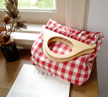 Little Paris handmade Japanese classic style wooden handle tote plaid pattern womens canvas bag