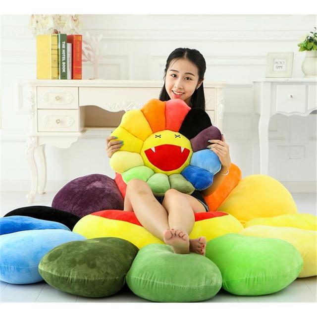 50*50 cm Forma de Girassol Colorido Almofada Travesseiro Brinquedos de Pelúcia