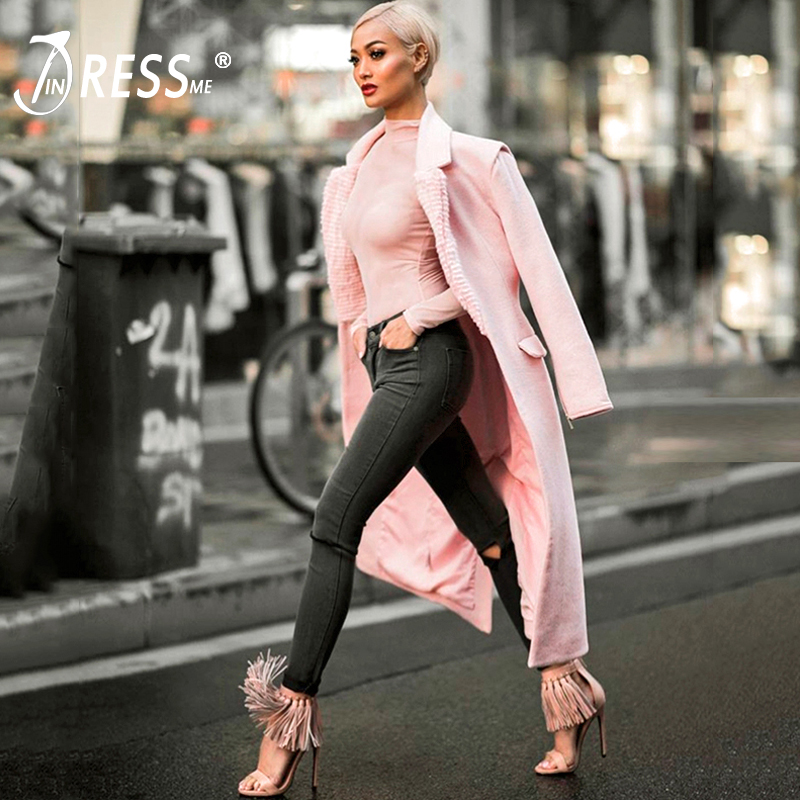 INDRESSME 2019 Women New Fashion Turn Down Collar Slim Winter Trench Sexy Solid Full Sleeve Long Coat Party Casual Warm Outwear