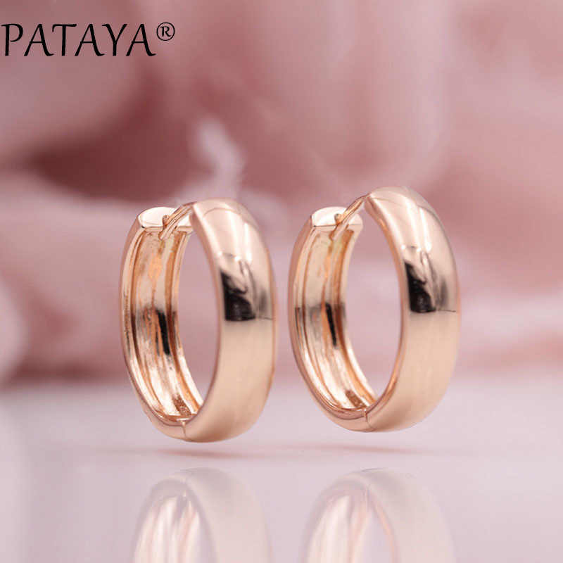 PATAYA New Arrivals 585 Rose Gold Smooth Dangle Big Earrings Women Simple Exquisite Wedding Party Noble Trendy Unique Jewelry