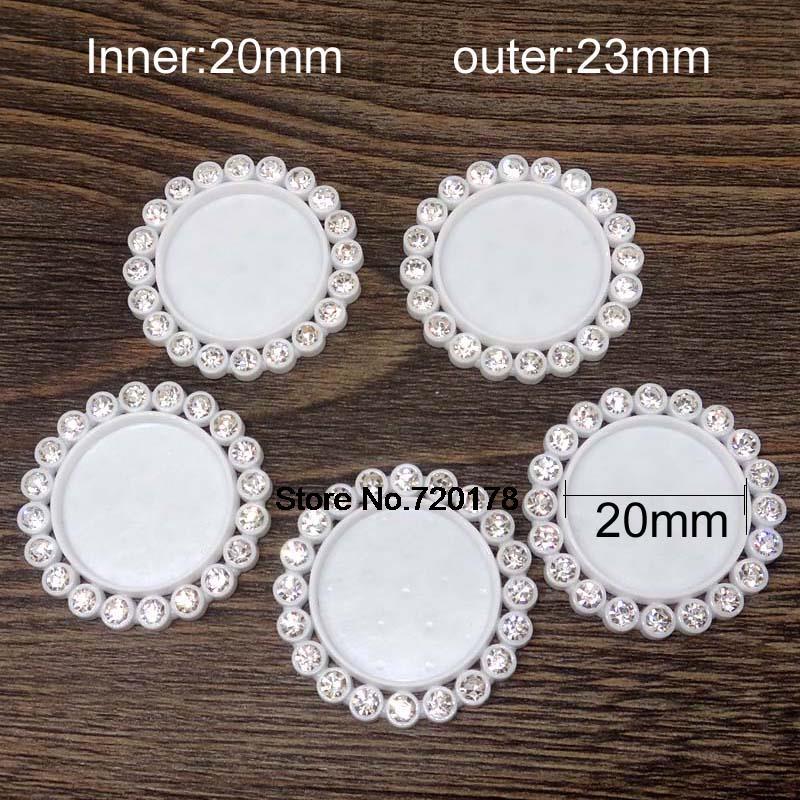 Внутренняя 20 мм белый цвет плоской задней смола кабошон камея рамка для DIY приукрашивание 50 шт. REY419
