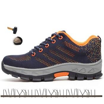 건설 남자 야외 플러스 사이즈 스틸 발가락 모자 작업 부츠 신발 남자 펑크 증거 안전 신발 통기성 무료 배송