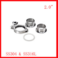 Free Shipping 2 0 SS304 Pipe Connection Ferrule Set Tri Clamp Union 2x Ferrule 1xclamp 1xgasket