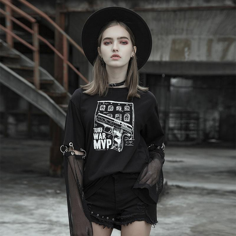 Punk Rave Women Gothic T shirt Printed Loose Black T Shirt with Detachable Sleeves Streetwear Personality