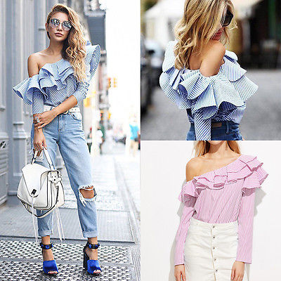 Women One Shoulder Ruffles   Blouse     Shirts   Blue Pink Striped Summer Loose Casual Long Sleeve   Shirt   Tops Ladies Tops   Blouse