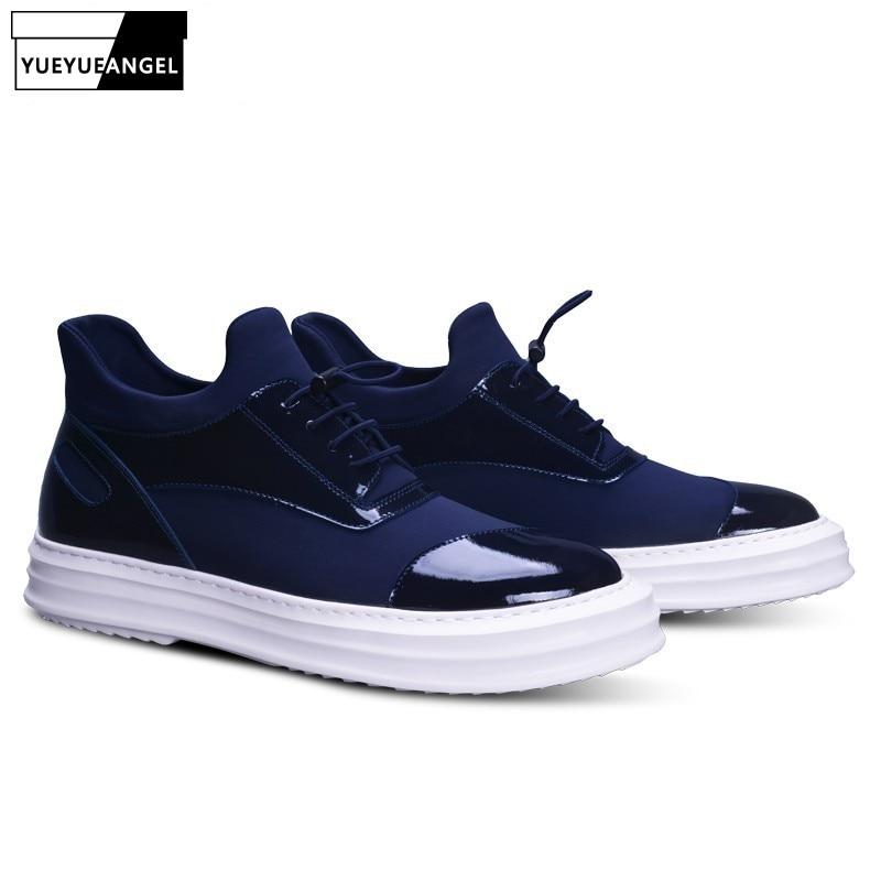 Top qualité en cuir véritable verni automne nouvelle mode à talons hauts à lacets hommes chaussures décontractées chaussures pour homme Style coréen Multi couleur