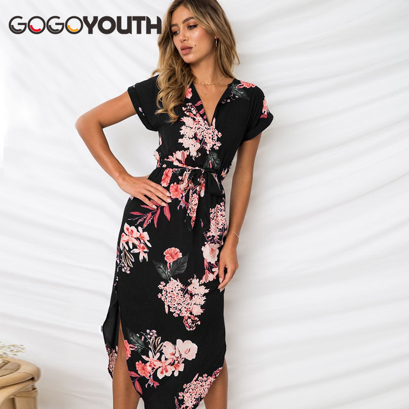 Gogoyouth Long Bohemian Women Summer Dress 2018 Vintage Plus Size Tunic Beach Dress And Sundress Black Party Dress Robe Femme