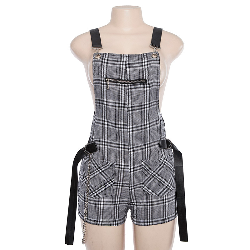 Hugcitar 2018 New Plaid Playsuit With PU Belt Zipper Pockets Stripes Women Harness Short Trousers Fashion Casual Playsuit